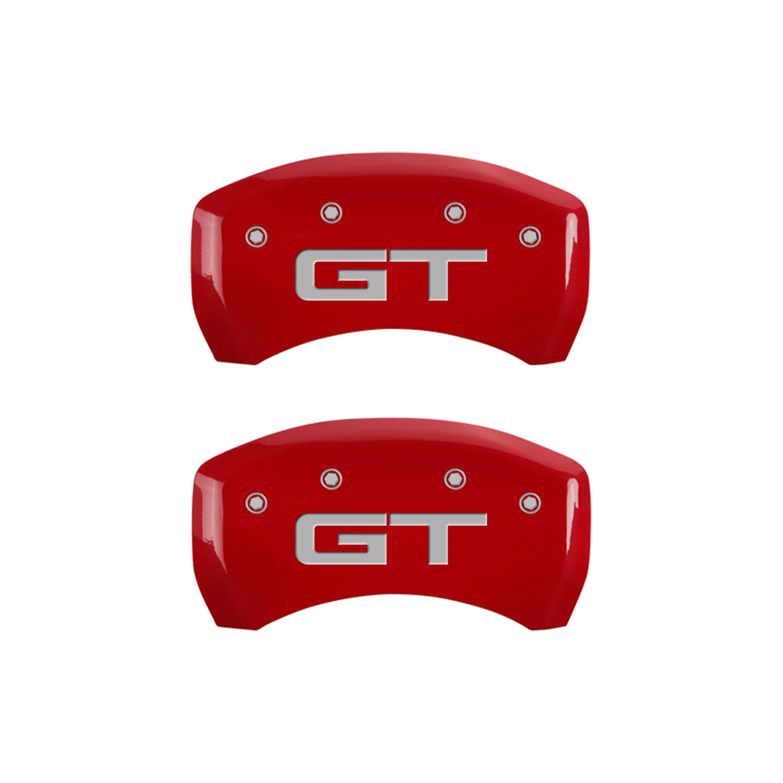 Set of 4 Caliper covers, Engraved Front: Mustang - Engraved Rear: GT - Red powder coat finish, silver characters